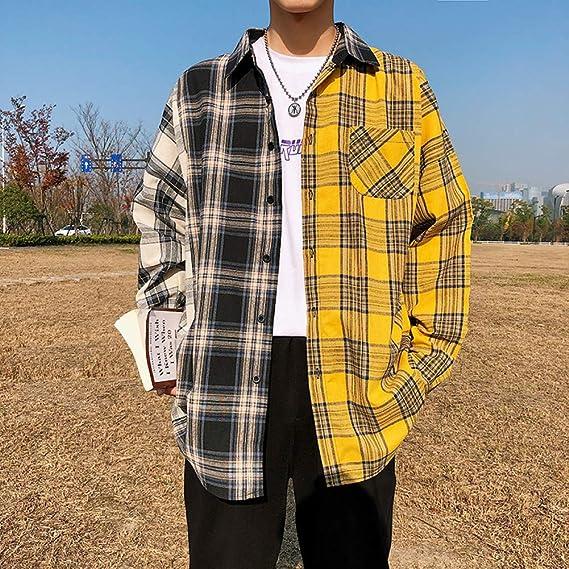 DUANXU Pullover Hip Hop,Camisas a Cuadros para Hombres Moda ...