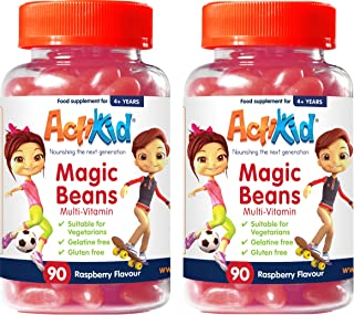 Deal of the Day 2x ActiKid Magic Beans Multi-Vitamin 90x Raspberry Flavour, Gelatin