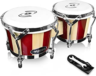 Pyle Hand Crafted Bongo Drums - Pair of Wooden Bongo Drums, 6.5 & 7.5 Inch - PBND10