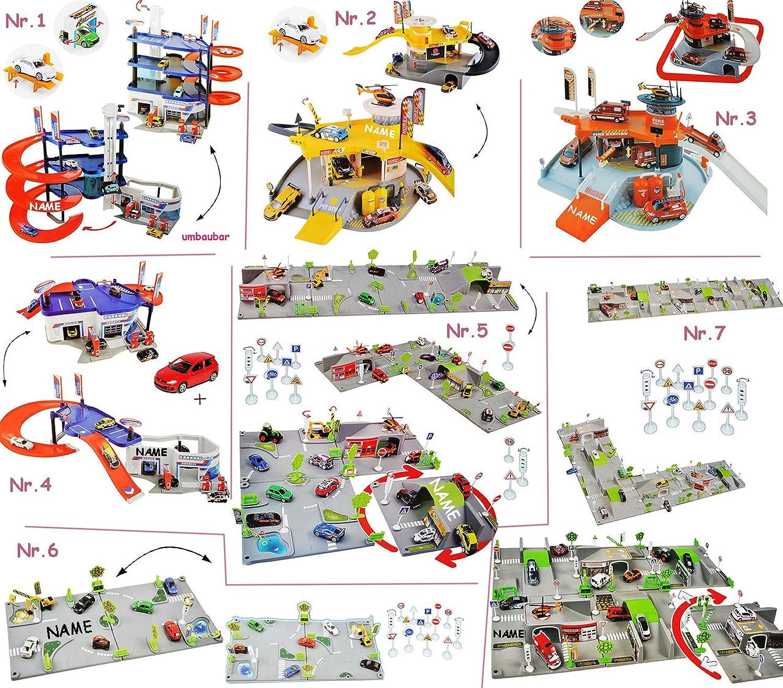 Alles-meine  GmbH Komplettset _ Parkhaus - Garage mit 4 Ebenen + Spielset Strae Kreisverkehr + Rennstrecke mit Helikopter Landeplatz  - incl. Name - UMBAUBAR - 1 64 - Spielw..