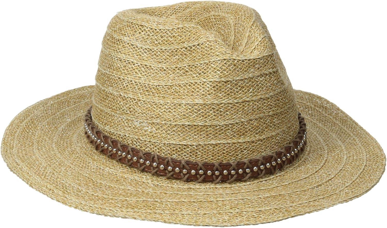 San Diego Hat Company Women's Studded Fedora trust Brim Leather Wide Jacksonville Mall