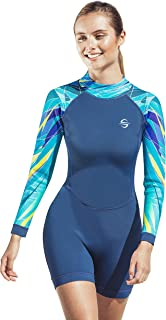 Women's Neoprene Shorty Wetsuit Long-Sleeve Swimsuit Water Suits for Diving Surfing Kayaking Canoeing Snorkeling - 2.0mm (...