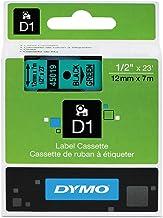 Dymo etiket makineleri için D1 standart bant kartuşu, 1,27 cm x 23 m, yeşil üzerine siyah, her biri 1 satılır