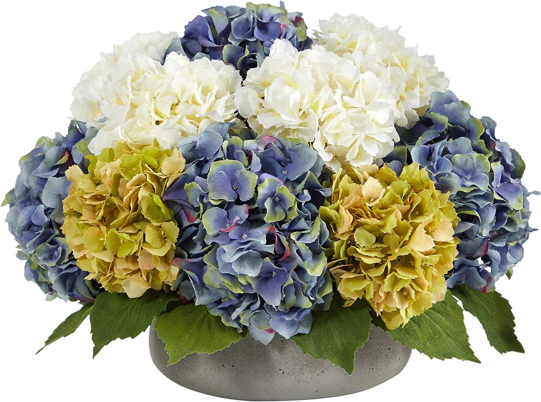16in. Hydrangea Artificial Arrangement 信託 ご予約品 Gray in Vase