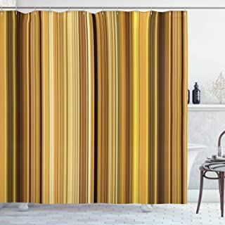 Lunarable Yellow and Brown Shower Curtain, Abstract Earthen Toned Vertical Lines Band with Blurry Effect, Cloth Fabric Bathroom Decor Set with Hooks, 70