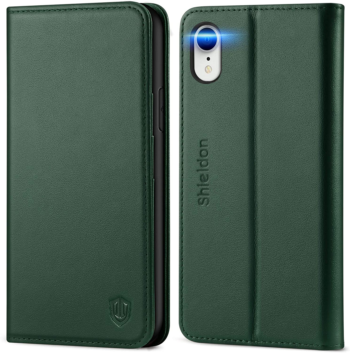 SHIELDON iPhone XR Case, iPhone XR Wallet Case, Genuine Leather iPhone XR Flip Magnetic Cover RFID Blocking Card Slots Kickstand Shockproof Case Compatible with iPhone XR (6.1 Inch) - Midnight Green