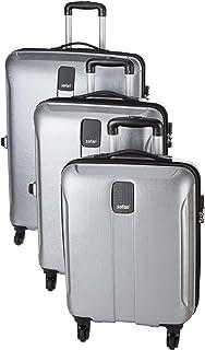 Safari Thorium Stubble Combo Set of 3 Silver Small, Medium & Large Check-in 4 Wheel Hard Suitcase