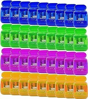 Alpurple 36 PCS Double Holes Manual Pencil Sharpener-Handheld Plastic Crayon Sharpener with Lid for School, Office and Hom...