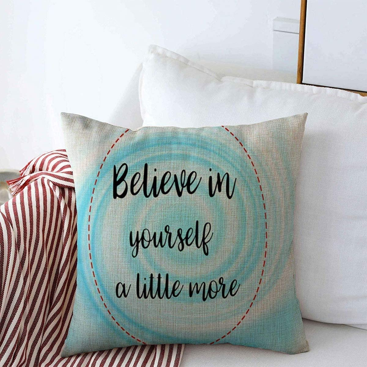 Amazon Com Throw Pillow Covers Sweet Blue Candy Believe Yourself Little More Words Cream On Abstract Color Life Pattern Quote Design Decorative Cushion Pillow Case Cotton Linen For Winter Decor 18 X 18
