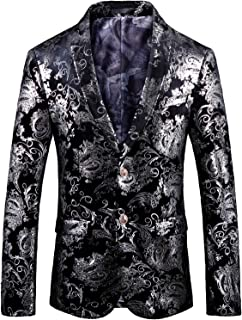 HENGAO Men's Casual Glitter Suit Stylish Slim Fit Blazer Jacket - - S/36
