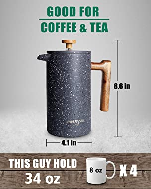 POLIVIAR French Press Coffee Maker, 34 Ounce Coffee Press with Teak Wood Handle, Double Wall Insulation & Dual-Filter Scr