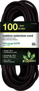 GoGreen Power GG-13700BK - 16/3 100' SJTW Outdoor Extension Cord - Black
