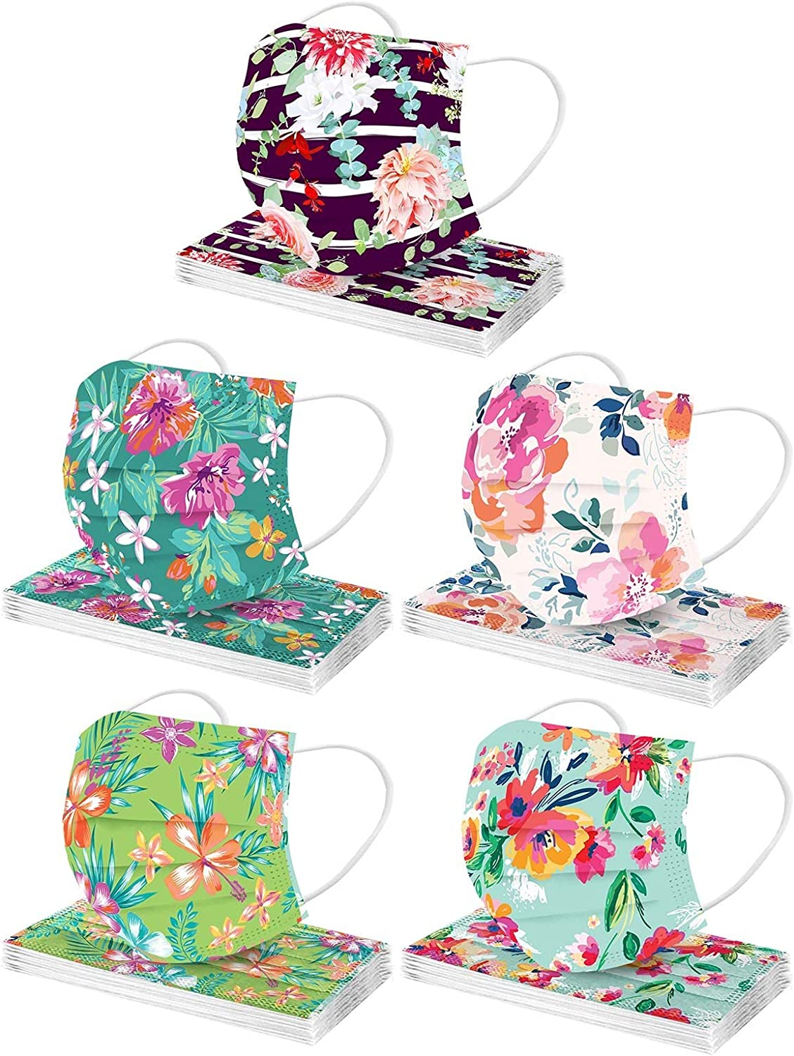 3Ply Adult Disposable Nonwoven Floral Pattern Print Face_Mask,50PC Protective Face Covering Fashion Balaclava Women