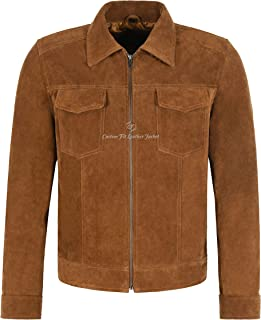 Mens CLASSIC Tan Suede Jacket Street Inspired Real Leather Shirt Jacket 5050