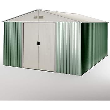 Hoggar by Okoru Caseta metálica Verde/Beige para Almacenamiento 15, 50 m2 343x452x223cm. Cobertizo Jardin: Amazon.es: Jardín