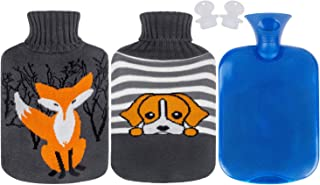 Attmu Classic Rubber Hot Water Bottle 2 Liter with 2 Pack Knit Covers and 1 Bottle Stopper, Red (C-Blue)