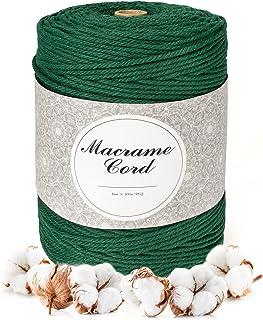 PUMPTUN ficelle corde Cordon en coton pour macramé - 3 mm x 300m - Fil de coton naturel pour corde macramé cordelette fil ...