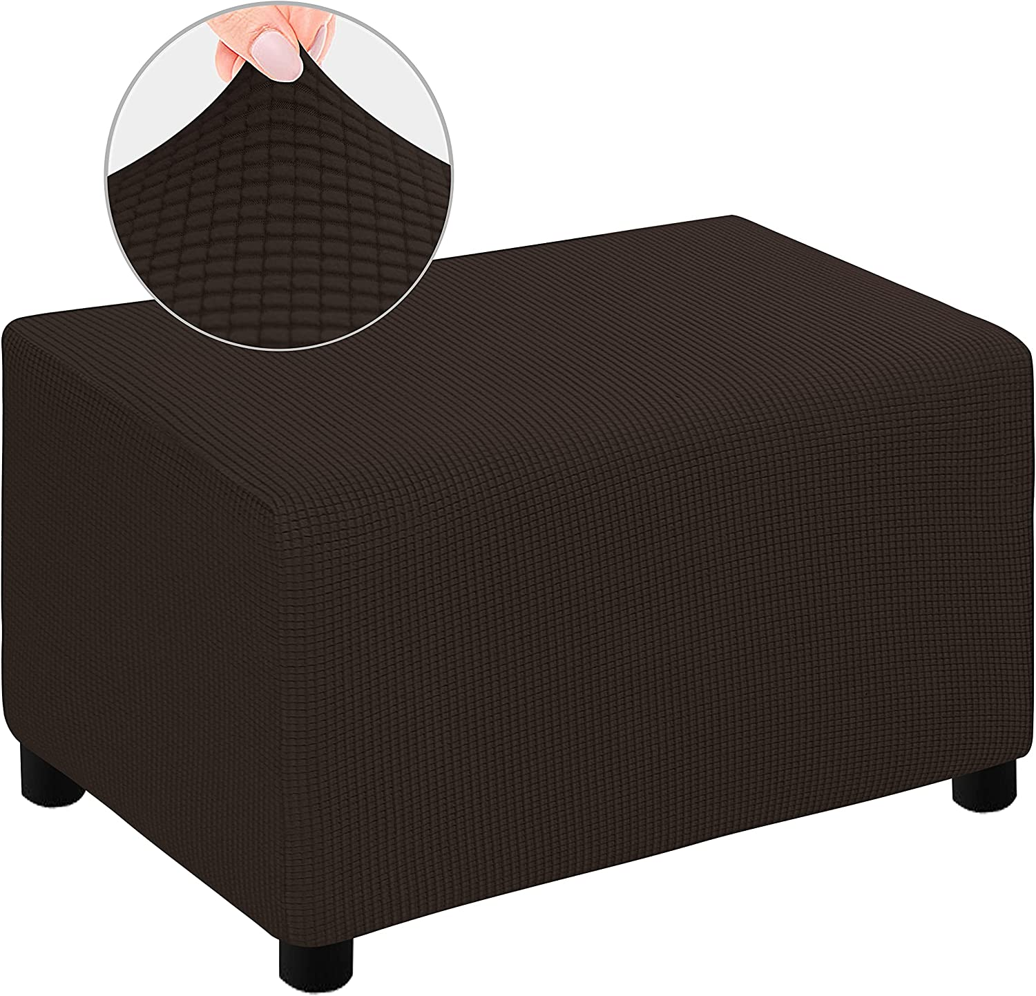 DANABEST Super Stretch Jacquard Ottoman Covers Slipcover Rectangle Stool Furniture Protector for Pets,Kids(Chocolate,Ottoman)