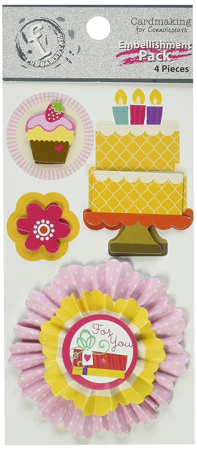 Ruby Rock-It Fundamentals Cardmaking Embellishment Pack, Birthday, 4-Pack