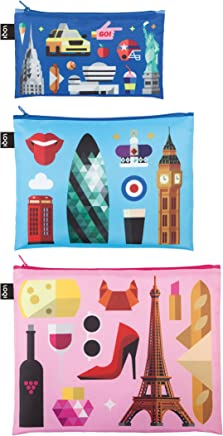 HEY New York - London - Paris Zip Pockets: Mini Pocket 13  x  23 cm, Midi Pocket 20  x  27 cm, Maxi Pocket 25  x  32 cm