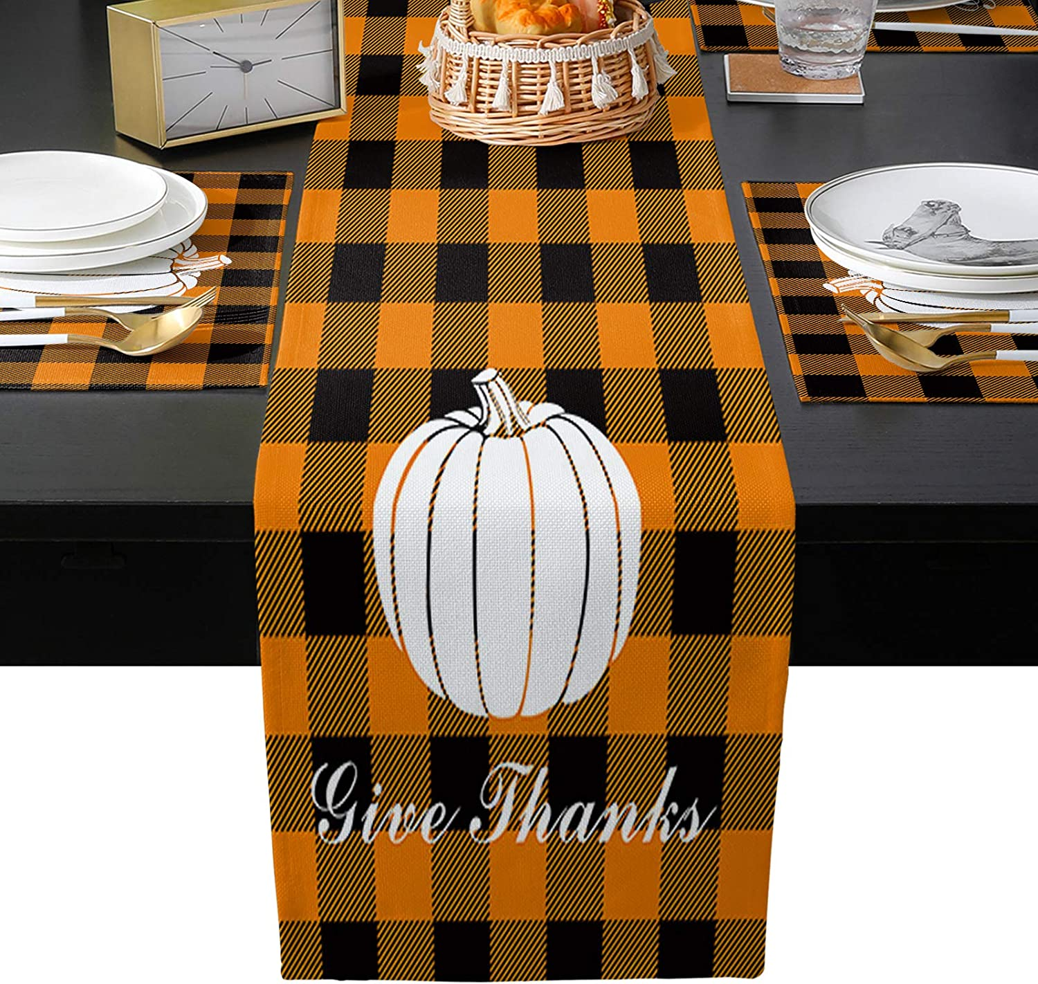 Table Columbus Mall Runner with Placemats Set of Give Thanks Finally resale start Thanksgiving 4 Pu
