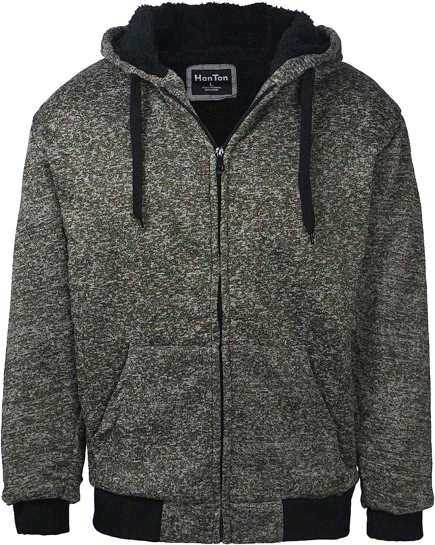 Direct store Ultra-Cheap Deals LeeHanTon Sherpa Lined Hoodie Mens Cas Fleece Zip Heavyweight Up