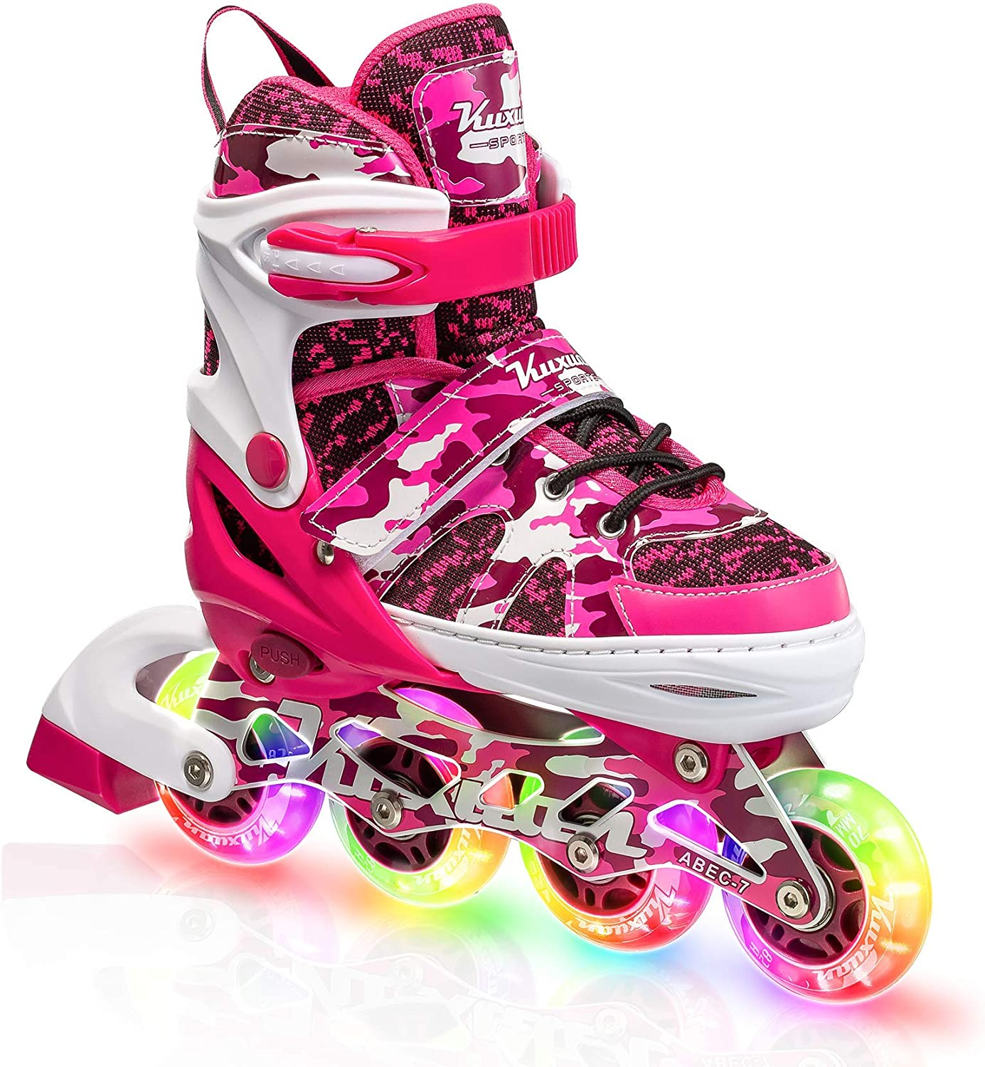 Fun Illuminating Roller Blading for Kids Girls Youth Kuxuan Boys and Girls Camo Adjustable Inline Skates with Light up Wheels