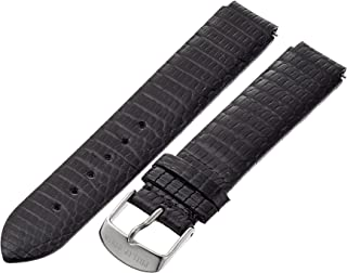 1-ZB 18mm Leather Lizard Black Watch Strap