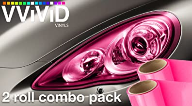 VViViD Pink Gloss Vinyl Headlight Foglight Transparent Wet Tint Wrap Self-Adhesive (12 Inch x 24 Inch, 2-roll Pack)