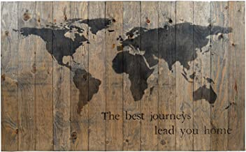 WORLD MAP RUSTIC BARN WOOD PALLET SIGN - THE BEST JOURNEYS LEAD YOU HOME. 42