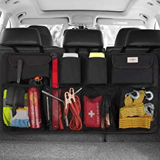 JK - Organizador impermeable para la parte trasera del coche con múltiples bolsillos profundos y con gran capacidad de almacenamiento para viajar