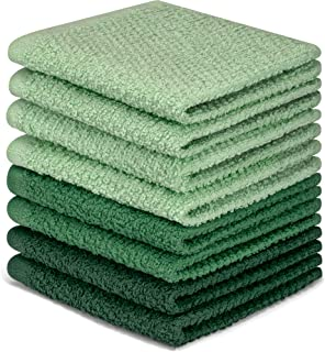 DecorRack 8 Pack Kitchen Dish Towels 100% Cotton Wash Cloth Luxurious Soft 12x12 inch Ultra Absorbent Machine Washable Was...
