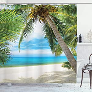 Ambesonne Ocean Shower Curtain, Shadow Shade of a Coconut Palm Tree on White Sandy Seashore Image, Cloth Fabric Bathroom Decor Set with Hooks, 84