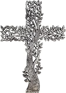 Old River Outdoors Tree of Life Wall Cross - Rustic Antique Silver Finish Decorative Spiritual Art Sculpture