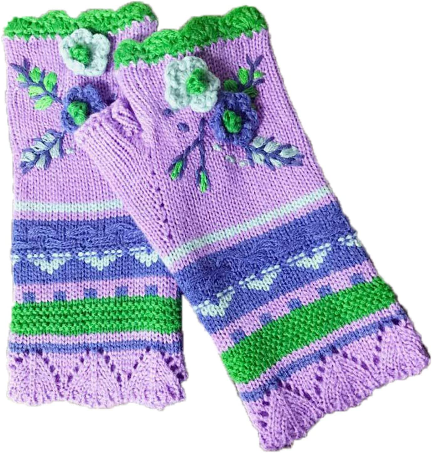 Women's Fingerless Gloves Vintage Small Flower Multicolor Knitted Warm Gloves Hand Crochet Arm Warmers for Winter Cold Weather (Green)