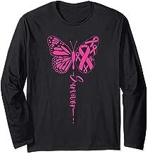 I am a Survivor Ribbon Butterfly Breast Cancer Awareness Long Sleeve T-Shirt