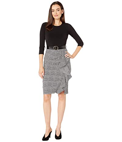 Calvin Klein Belted Dress with Plaid Bottom (Black/Black/Cream) Women
