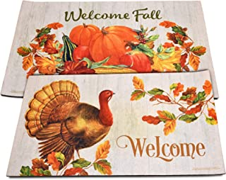 "Gift Boutique Thanksgiving Welcome Fall Door Mats Set of 2 Harvest Turkey Floor Rugs for Indoor Outdoor Home Garden Lawn Autumn Pumpkin Leaves Rubber Doormat Holiday Front Entrance Decor 30""x 17.75"