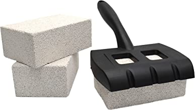 Grill Brick Stone Griddle Scraper Cleaner Block handle holder Flat top, BBQ Grills, Racks - Commercial Grade Pumice Stone Eco-Friendly Food Safe - Extremely Durable Scraper for grills cleaning 3 Pack