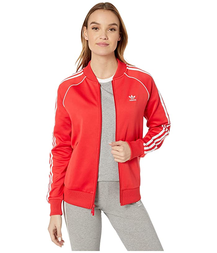 70s Jackets, Furs, Vests, Ponchos adidas Originals Superstar Track Jacket Lush RedWhite Womens Coat $52.99 AT vintagedancer.com