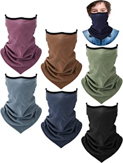 6 Pieces KidTriangle Neck Gaiter Ear Loop Face Covering Bandana (Classic Color)