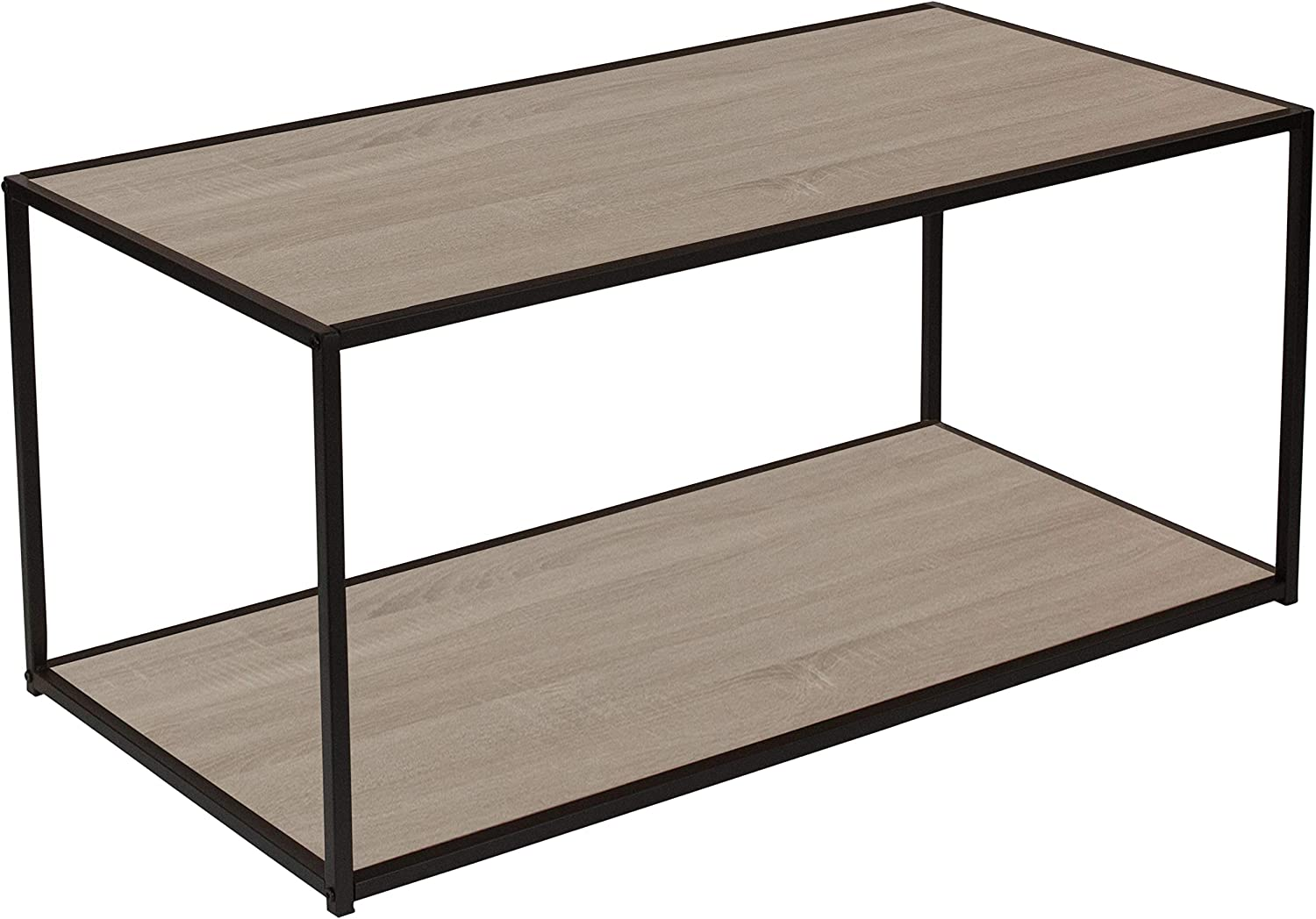 Flash Furniture Midtown Collection Sonoma Oak Wood Grain Finish Coffee Table with Black Metal Frame