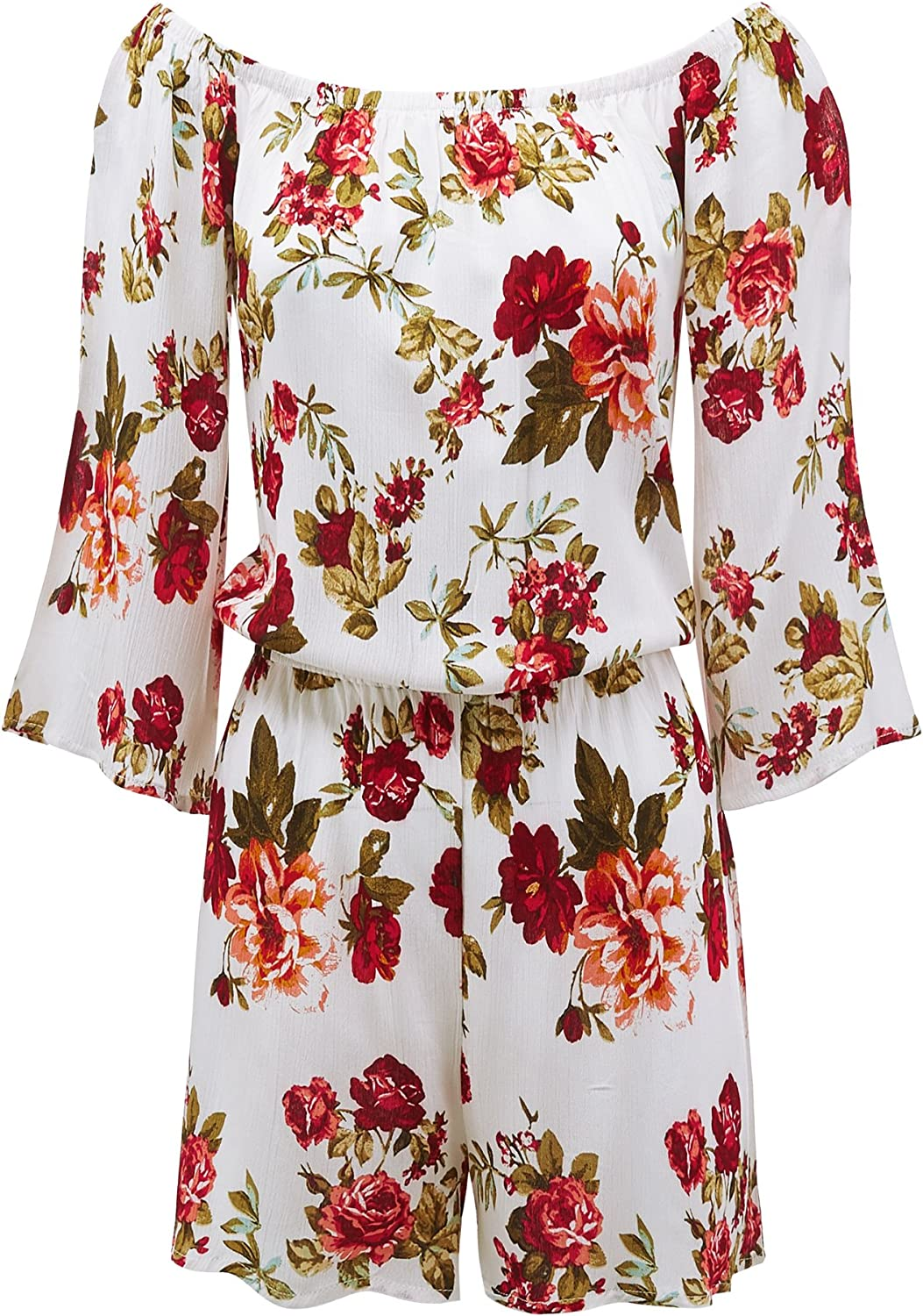 Made By Johnny Womens 3 4 Sleeve Floral Printed Off Shoulder Romper