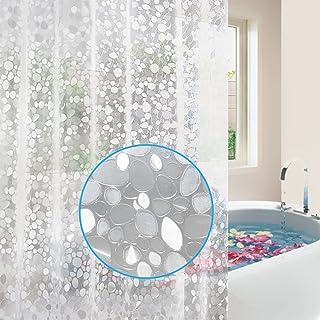 آستر پرده دوش Feagar EVA با قلاب های رایگان ، ضد آب 72x72-اینچ-پی وی سی رایگان ، غیر سمی ، سازگار با محیط زیست ، پرده حمام 3D ریبری بدون بو بدون بو ، نیمه شفاف
