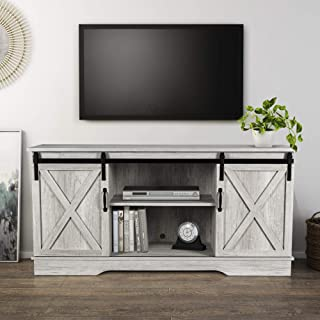 """BELLEZE Modern Farmhouse 58"""" Sliding Barn Door TV Stand Console with Storage for TVs Up to 65"""", Sargent Oak"""
