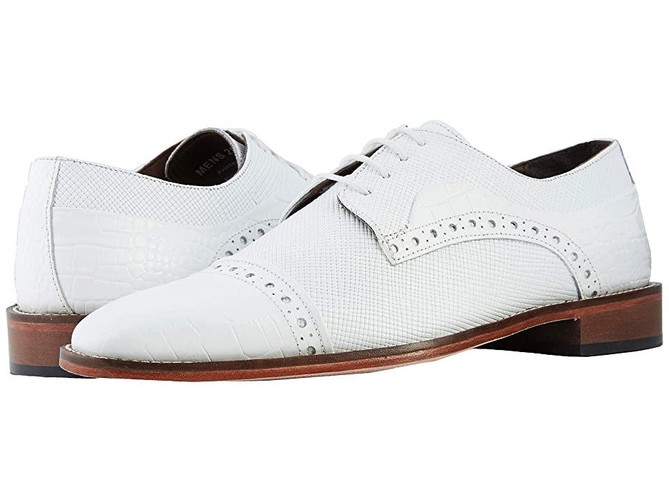 1920s Style Mens Shoes | Peaky Blinders Boots Stacy Adams Rodrigo Cap Toe Oxford White Mens Shoes $90.00 AT vintagedancer.com
