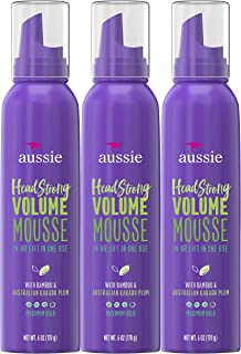 Aussie Mousse, with Bamboo & Kakadu Plum, Headstrong Volume, For Fine Hair, 6 fl oz, Triple Pack