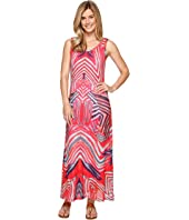 Tribal - Printed Mesh Maxi Tank Dress