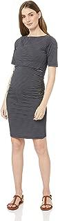 Maive & Bo Women's Luella Maternity & Nursing Dress in Stripe, Navy/White Stripe