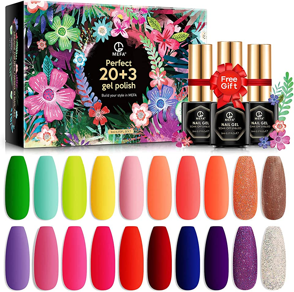 MEFA Gel Nail Polishes Set 23 Pcs, Summer Colors Gel Nail Polish Pink gel nail Rainbow Collection Soak Off Gel Nail Varnish Set with Glossy & Matte Top Coat and Base Coat Gift Box Nail Art Set